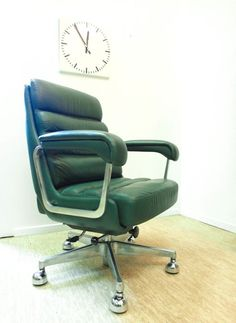 Drabert Lounge Chair   Chefsessel   70s   Top Leder grün