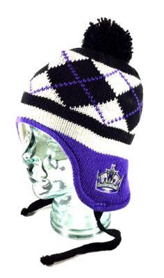 Los-Angeles-Kings-NHL-Argyle-Premium-Laplander-Toque-Knit-Pom-Beanie-Hat-Cap-NWT