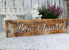Rustic Wood Sign Kitchen Wall Art - Bon Appetit (#1326) | Kitchen ...