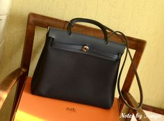 Hermes Herbag in navy leather and canvas