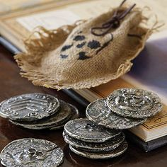 Handmade pewter pirate coins Pirate Theme, Pirate Party, Pirate Birthday, Renaissance Pirate, Pirate Coins, Pieces Of Eight, Walking The Plank, Pirate Adventure, Pirate Life