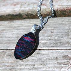Spoon pendant. Nail polish, glitter, bag of spoons, epoxy, inexpensive chains.