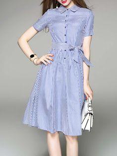 #AdoreWe #StyleWe Midi Dresses❤️Designer TangJie Blue Short Sleeve Stripes Bow Cotton-blend A-line Midi Dress - AdoreWe.com