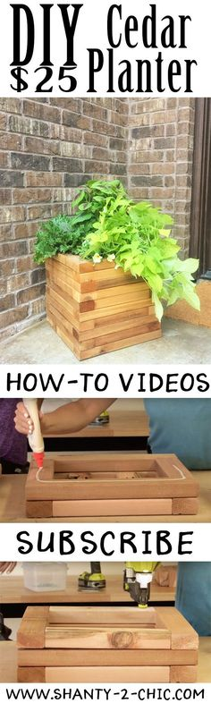 Build this DIY Cedar planter with only 6 boards! Perfect beginner project and perfect for your fall porch! Get the free plans and how-to video at http://www.shanty-2-chic.com