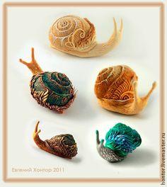 улитка, фигурки улиток, бархатный пластик, автор: Евгений Хонтор