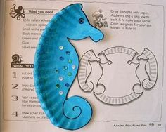 sea horses from paper plates dangling from the end of a ribboned balloon. Sparkle it up, put a weighted gem in the curled tail.