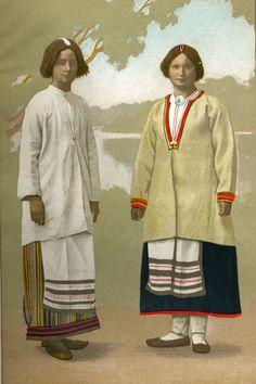 Kansanpuku Pyhajarvelta/ Kesaviitta - Kostuli Folk Costume, Costumes, Finnish Women, Different Patterns, Traditional Dresses, Indigo, Two By Two, Character Design, Culture