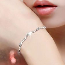Women Fantastic 925 Sterling Silver Crystal Bamboo Chain Bracelet Jewelry
