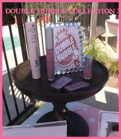 TINte Cosmetics Bubble Gum Flavored Lip gloss and Bubble Gum flavored lip colors in vintage slider tins