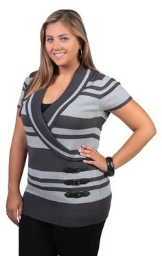 Deb Shops plus size short sleeve striped tunic with buckle detail $21.67