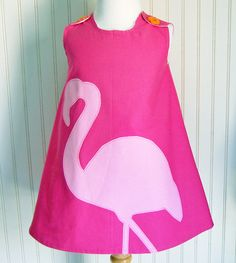 Pink Flamingo Dress Jumper Sizes 12 to18mos 2T 3 4 by thetrendytot, $52.00 #easter
