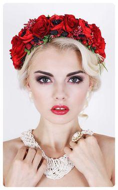 Red flower wreath Flower Headdress Flower Headpiece by MadamIren