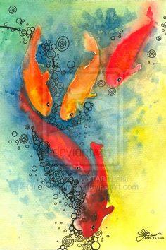 sayaw by ferdfailano on DeviantArt Koi Art, Fish Art, Fish Fish, Watercolor Fish, Watercolor Paintings, Watercolor Animals, Watercolours, Watercolor Tattoo, Tattoo Pez