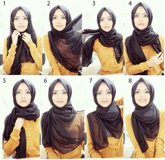 Classy Simple Black Hijab Tutorial Step by Step Tutorial Hijab Segitiga, Square Hijab Tutorial, Simple Hijab Tutorial, Pashmina Hijab Tutorial, Turban Hijab, Mode Turban, Hijab Dress, Hijab Mode Inspiration, Stylish Hijab
