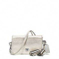 LEGACY METALLIC LEATHER PENNY SHOULDER PURSE
