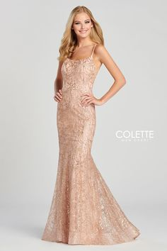 Colette for Mon Cheri CL12077. Sleeveless cracked ice fit and flare gown with a scoop neck, natural waist, open back, horsehair hem and a sweep train.