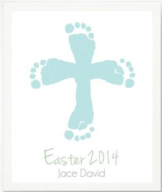 First Easter Gifts for the Baby:  Personalized Easter Cross with Blue Baby Footprint Art Print by Pitter Patter Print @ Etsy Baby Jesus Crafts, Easter Jesus Crafts, Preschool Easter Crafts, Easter Crafts For Preschoolers, Baby Handprint Crafts, Baby Footprint Crafts, Easter Crafts For Kids, Easter Activities, Easter Projects