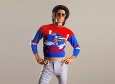 vintage Mario NY Giants sweater NES Nintendo red white blue New York kid child jumper small XS petit