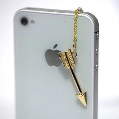 Kawaii GOLD ARROW Iphone Earphone Plug/Dust by fingerfooddelight, $6.50