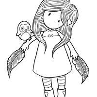Desenho de Boneca Gorjuss e passarinho para colorir