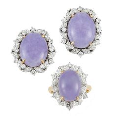 lavender jade and diamonds - ring and earrings #jewelry