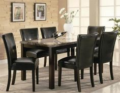 "7pc Dining Table and Black Parson Chairs Set in Deep Cappuccino Finish by Coaster Home Furnishings. $786.54. 7pc Dining Table & Parson Chairs Set Cappuccino Finish. Dining and Kitchen->Dining Room Sets->Parsons. Dining and Kitchen. Some assembly may be required. Please see product details.. You will receive a total of 1 dining table and 6 parson chairs. Table: 36""W x 60""D x 30""H. Chairs: 19""W x 23 1/2""D x 38""H. Finish: Black, Deep Cappuccino. Material: Wood, Faux Leather. ..."