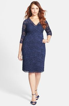 Marina Embellished Three Quarter Sleeve Lace Dress (Plus Size) available at Nordstrom. Silver or Navy.
