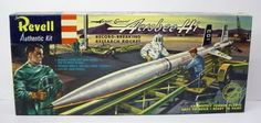 """Revell H-1814:98  Aerojet-General AEROBEE HI.  Record Breaking Research Rocket.   approx. 1:40 scale.   1958.  """"S"""" Kit.  ORIGINAL issue.  Movable firing arm with piston and cylinder action; movable wheels, tow bar, wheel assembly; life like crew figures.   most parts still attached to the trees.  parts mint.  box near mint.  early and scarce kit. revell-aerobee.JPG (579×275)"""