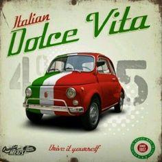 🌟Tante S!fr@ loves this📌🌟Eco-Chic: Dolce Vita Fertig-Bild Oldtimer Fiat 500 Eurographics Fiat 500 Car, Fiat Cars, Fiat Cinquecento, Fiat Abarth, Fiat 500 Vintage, Vintage Cars, Vintage Italian Posters, Poster Vintage, Vespa