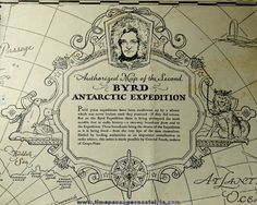 1935 Grape Nuts Cereal Premium Rear Admiral Byrd Antartic Expedition Coloring Map.