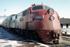 """Rock Island EMD E6 """"shovelnose"""" 630 with commuter train. Joliet, Illinois February 1967 Photo by LSallee on Flickr"""