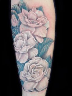 White Gardenias Tattoo Realism I would get this for her with our anniversary day hidden deel inside 1162012 Cover Up Tattoos, Love Tattoos, Tattoo You, Tatoos, Jasmine Flower Tattoos, Floral Tattoos, White Gardenia, Tattoo Addiction, Bild Tattoos