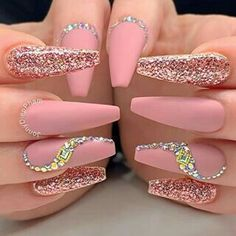 Amazing pink matte nails coffin long adorned with glitter and crystals coffinnails coffinnailshape mattenails glitternails Ballerina Acrylic Nails, Summer Acrylic Nails, Best Acrylic Nails, Matte Nails, Stiletto Nail Art, Classy Nails, Stylish Nails, Bling Nails, Swag Nails