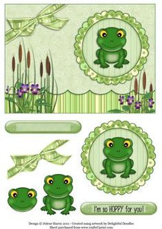 Hoppy Little Frog Decoupage Card on Craftsuprint designed by Julene Harris - This adorable little fellow is HOPPY to see you! He's irresistable! Please click on my name to view more of my designs. - Now available for download!