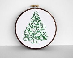 """Embroidery Hoop Swirl Green Christmas Tree with Gold Ornaments - Holiday Decoration 5"""" Hoop Wall Art - Hand Embroidered"""