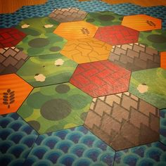 My custom Catan Hexagons printed on wood and cut to shape