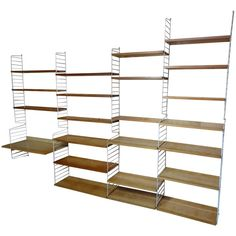 XXL String Wall Shelving Unit with 22 Shelves and a Desk For Sale at Wall Shelving Units, Shelving Systems, Desk Shelves, Wall Mounted Shelves, Mid Century Shelves, String Shelf, Shelves For Sale, Furniture Boutique, Large Desk