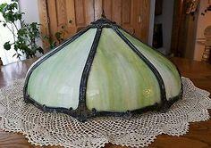 """21""""x10.5 Antique Curved Green Marbeled Slag Glass Panel Hanging Light Chandelier"""