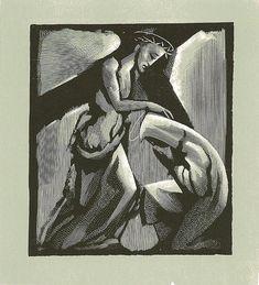 Station 4: Jesus Meets His Mother. Artist Bernard Brussel-Smith. Woodcut/wood engraving