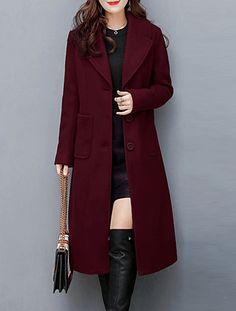 Unastar Men Comfort Lapel Solid Colored Outwear Buttoned Jacket Overcoat