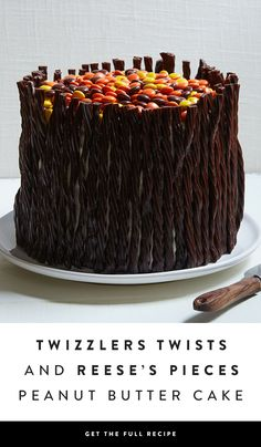 Can't decide which sweet treat you're in the mood for? Don't worry, this layered cake has you covered. It features chewy chocolate TWIZZLERS, crunchy REESE'S Pieces and classic chocolate cake. Need we say more? — via @PureWow