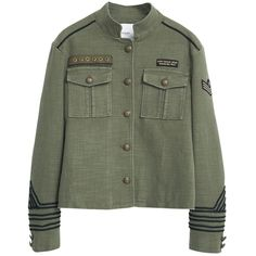 Mango Military Jacket, Khaki (430 RON) ❤ liked on Polyvore featuring outerwear, jackets, green military jacket, khaki jacket, cotton jacket, military jacket and military style jacket