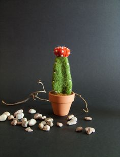 Needle Felted Cactus - Felt Pincushion