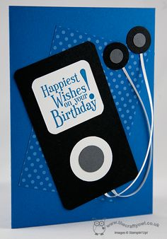 IPod Punch Art Birthday Card Joanne James  www.blog.thecraftyowl.co.uk