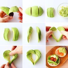 Avocado hearts for appetizersAvocado made pretty Cute Food, Yummy Food, Fruits Decoration, Avocado Dessert, Creative Food Art, Food Garnishes, Garnishing, Food Carving, Vegetable Carving