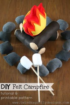 Felt Campfire Tutorial and Pattern ~ One For The Boys Dragonfly Designs: DIY Felt Campfire Tutorial and Pattern ~ One For T.Dragonfly Designs: DIY Felt Campfire Tutorial and Pattern ~ One For T. Felt Diy, Felt Crafts, Diy Crafts, Sewing For Kids, Diy For Kids, Crafts For Kids, Craft Projects, Sewing Projects, Homemade Toys