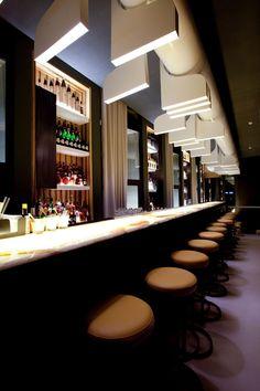 #bar #illumination Bar Interior Design, Bar Lounge, Reception Areas, Cafe Bar, Beirut, Commercial Interiors, Ceiling Design, Magazine Design, Restaurant Bar