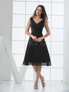 Vestido de dama de honra verão cetim Chiffon preto com decote em v profundo - Milanoo.com