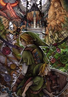 Young and Adult Link with temples - The Legend of Zelda: Ocarina of Time; fan art by Arupuru.