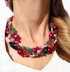 Mixing fabulous gemstones (jade!) with equally fabulous colored pearls? (pinks!) into one adorable, handmade statement necklace! https://www.etsy.com/listing/104301055/petite-twisted-statement-necklace-pink